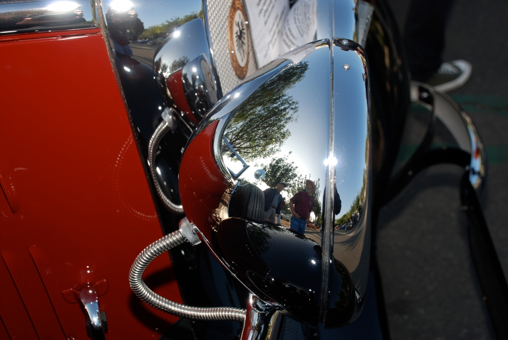 Red & Black 1936 Mercedes Benz 230 W-143 Cabriolet B_headlight & grill reflections_Cars&Coffee_November 3, 2012
