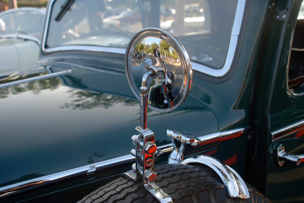 Green & Black (1936-1940), Mercedes Benz 260 D, W-138 series sedan_hood and side mirror reflections_Cars&Coffee_November 3, 2012
