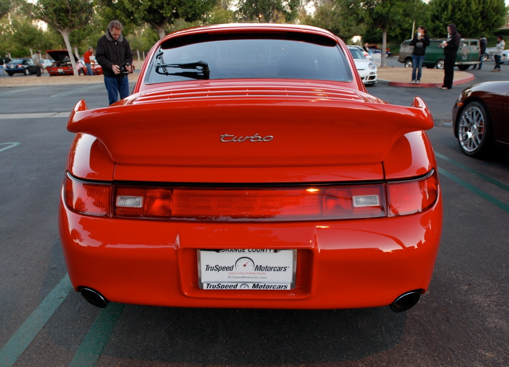 Porsche 993 turbo with RUF front valence and wheels__rear view & reflections_Cars&Coffee_November 10, 2012
