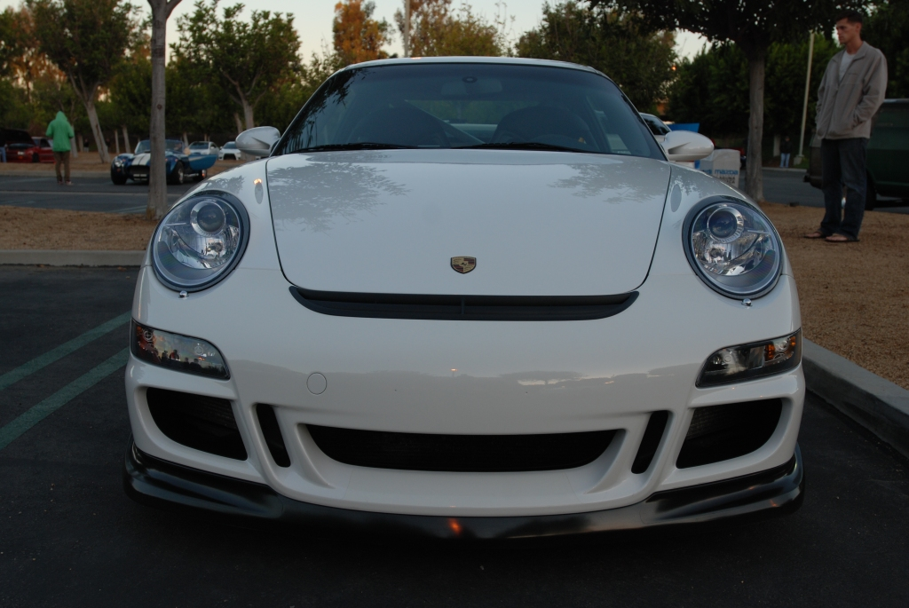 White Porsche 997 GT3_front view_Cars&Coffee_November 10, 2012