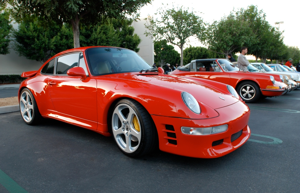 Red Porsche 993 turbo_ with RUF front valence and wheels_Cars&Coffee_November 10, 2012