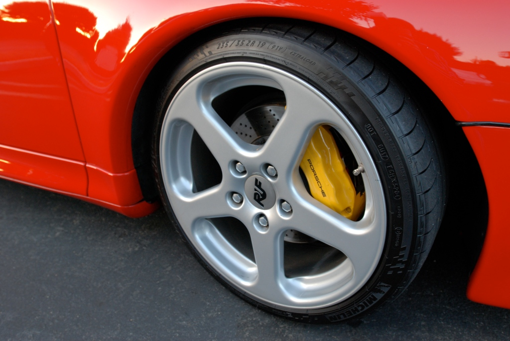 Red Porsche 993 turbo_ RUF front wheel with yellow PCCB brake caliper_Cars&Coffee_November 10, 2012