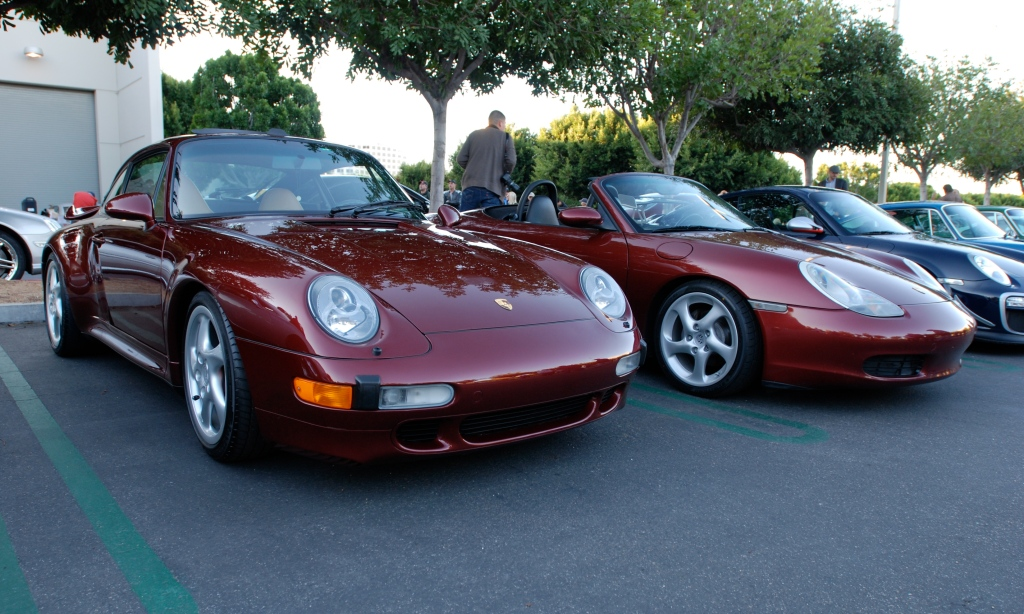 Arena Red metallic Porsche 993 turbo and Boxster_3/4 front view_Cars&Coffee_November 10. 2012