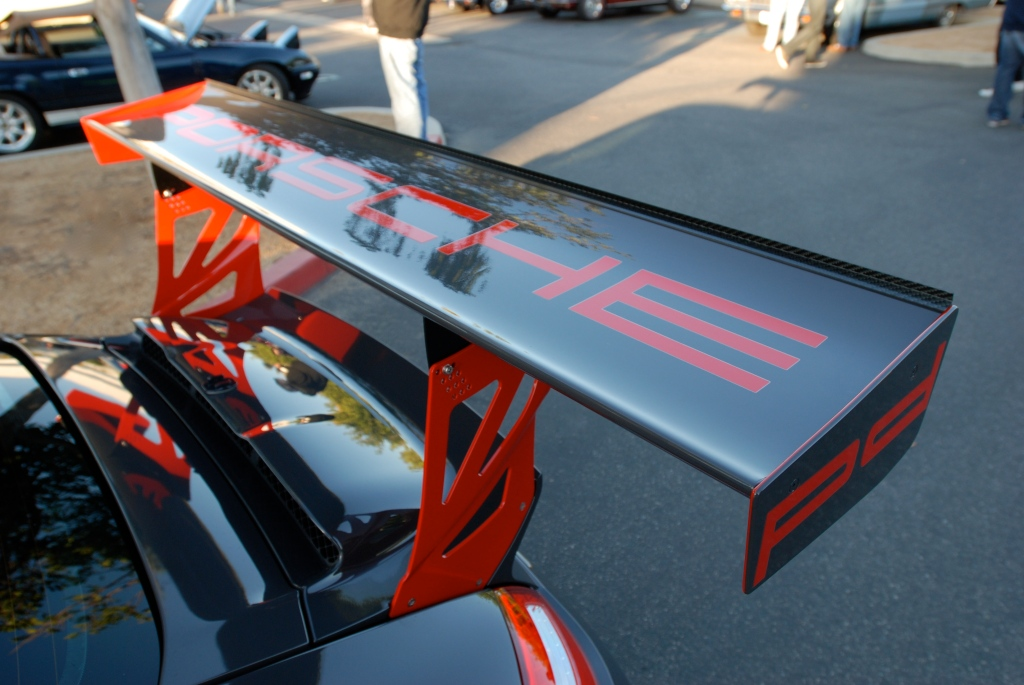 2011 Gray Porsche 911GT3 RS_ Cup car rear wing, uprights and reflections_Cars&Coffee_November 10, 2012