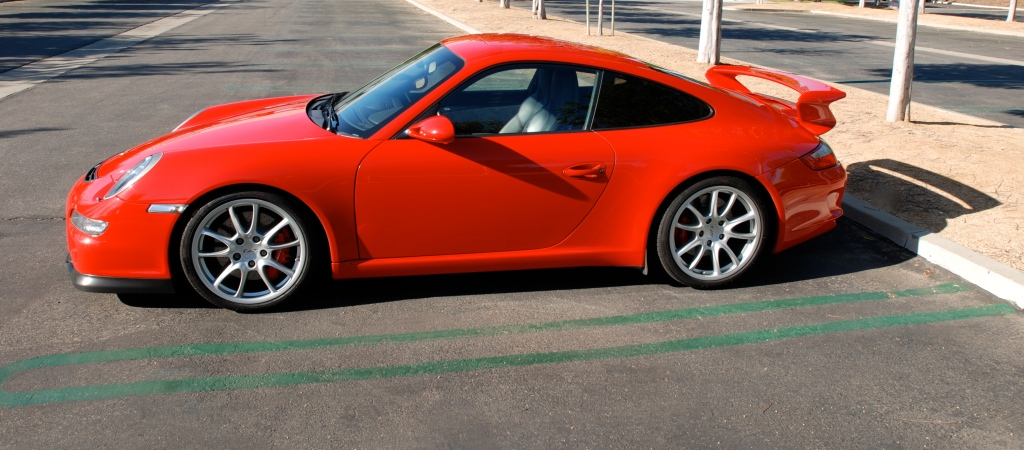 Red Porsche 997 GT3_ side profile view, solo_Cars&Coffee_November 10, 2012