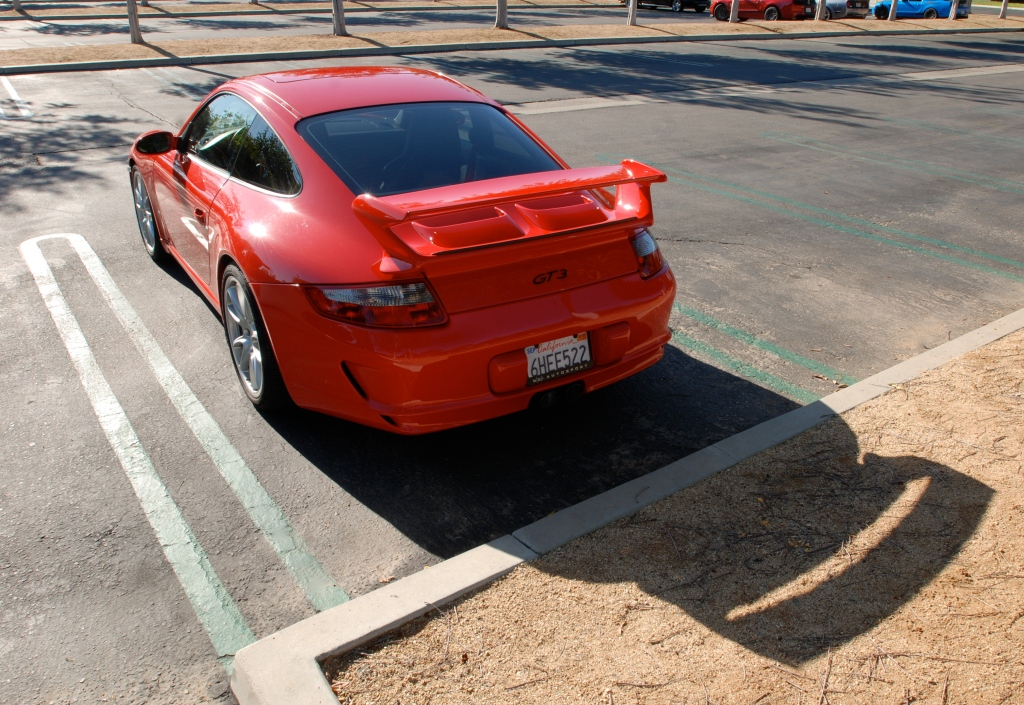Red Porsche 997 GT3_ 3/4 rear view with extended shadow_Cars&Coffee_November 10, 2012