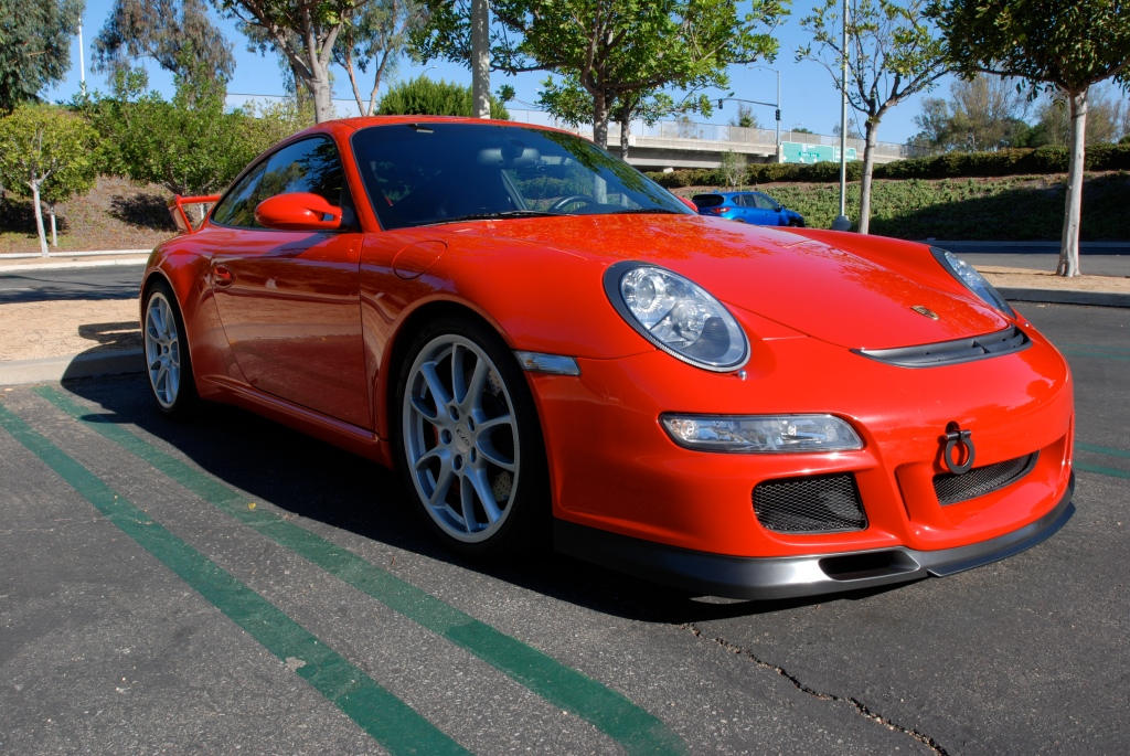 Red Porsche 997 GT3_ 3/4 front view solo_Cars&Coffee_November 10, 2012