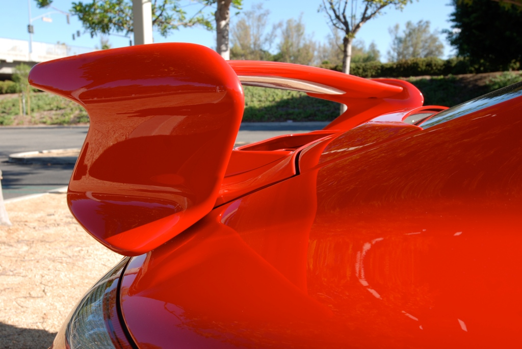 Red Porsche 997 GT3_ rear wing & fender reflections_Cars&Coffee_November 10, 2012