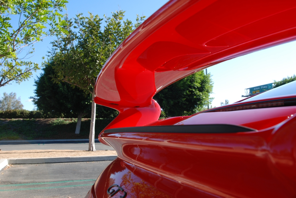Red Porsche 997 GT3_ rear wing underside and deck lid reflections_Cars&Coffee_November 10, 2012