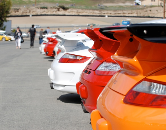 Multicolored Porsche GT3's, and RS rear ends and wings_Rennsport Reunion IV, Laguna Seca 2011_DSC_0093_2