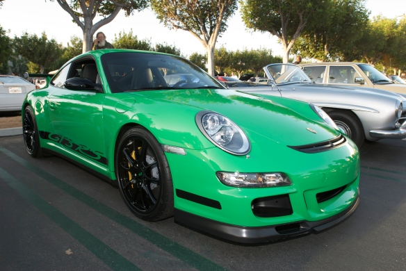 2007 Porsche GT3 RS_Viper Green with black accents_3/4 front view_Cars&Coffee, Irvine_DSC_0104