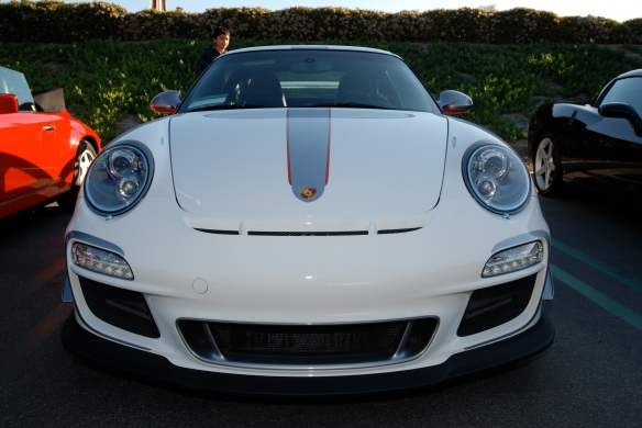 2011 white Porsche GT3 RS4.0_front view_Cars&Coffee, Irvine_DSC_0105