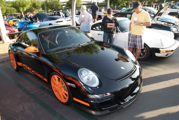 2007 Porsche GT3 RS_Black with orange accents_3/4 front view_Cars&Coffee, Irvine_DSC_0140