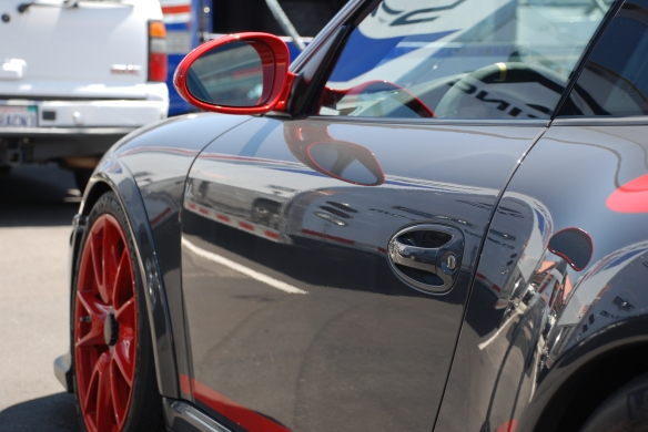 2011 Porsche GT3RS_Gray with red accents_side reflections_California Festival of Speed_DSC_0207