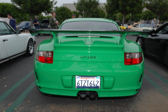 _2007 Porsche GT3 RS_Viper Green with black accents_rear view_Cars&Coffee, Irvine_DSC_0268