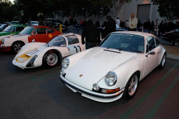 White 1966 Porsche 906 race car_ flanked by 2 Porsche 911 RGruppe vehicles_white 1972 911 GT and red 1966 911R racer_Cars&Coffee/Irvine_December 29, 2012_DSC_0525