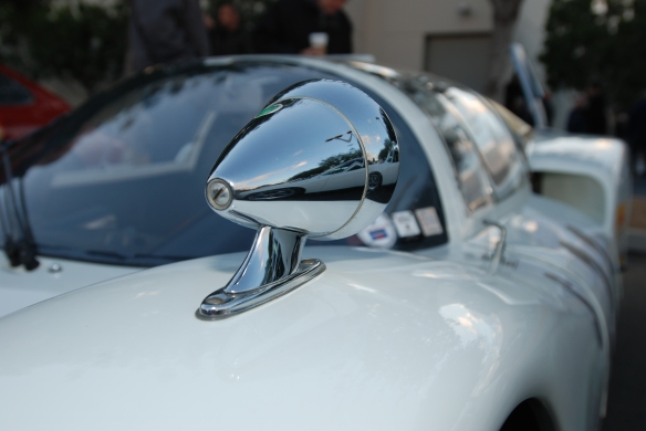 White 1966 Porsche 906 race car_ drivers side, front fender mounted Talbot racing mirror with reflections_Cars&Coffee/Irvine_December 29, 2012DSC_0585