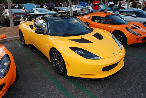 Solar Yellow 2012 Lotus Evora coupe_3/4 front view_Cars&Coffee/Irvine_December 29, 2012_DSC_0611