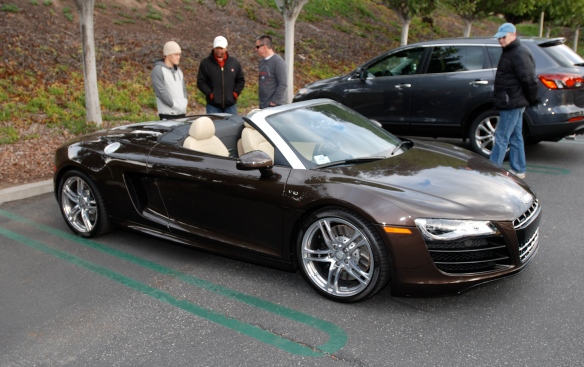 2012 Teak Brown metallic Audi R8 V10 Spyder_top down, 3/4 front view_Cars&Coffee/irvine_December 29, 2012_DSC_0636