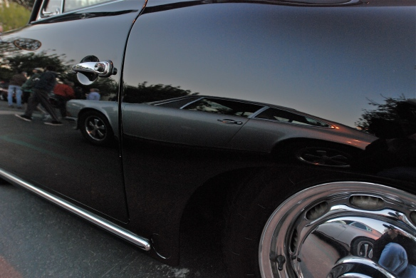 Black Porsche 356 coupe_side view w/reflections_Cars&Coffee/Irvine_January 5, 2013