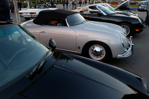 Silver 1955 Porsche Speedster & black Porsche 993_3/4 front view w/reflections_Cars&Coffee/Irvine_January 5, 2013