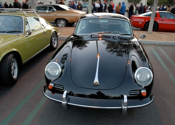 Black Porsche 356 coupe_front view w/reflections_Cars&Coffee/Irvine_January 5, 2013