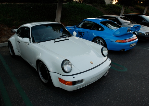 White Porsche 964 turbo & Riviera Blue 993 Carrera RS Club Sport_3/4 front view_Cars&Coffee/Irvine_January 5, 2013