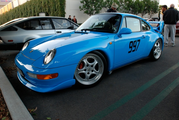 1996 Riviera blue, Porsche 993 Carrera RS Club Sport_3/4 side view w/ reflections_Cars&Coffee/Irvine_January 5, 2013