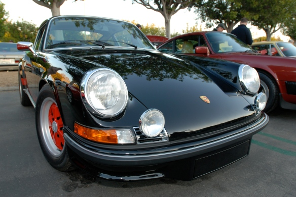 Black 1973 Porsche 911 Carrera RS_right hand drive model_3/4 front view with reflections_Cars&Coffee/Irvine_January 5. 2013