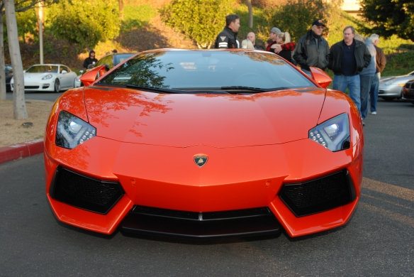 2012  Arancio Argos  (Orange) Lamborghini Aventador_front view w/reflections_Cars&Coffee/Irvine_January 5, 2013