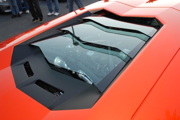 2012 Orange (Arancio Argos) Lamborghini Aventador_rear glass louvers w/reflections_Cars&Coffee/Irvine_January 5, 2013_DSC_0064