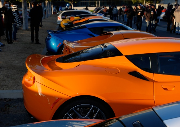The new Lotus row_Evora's and Elise_3/4 rear views_Cars&Coffee/Irvine_January 5, 2013