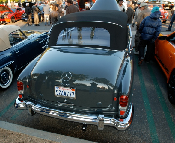 1960-1962 Gray Mercedes Benz 300 Automatic Cabriolet D_Rear view w/ reflections_Cars&Coffee/Irvine_January 5. 2103