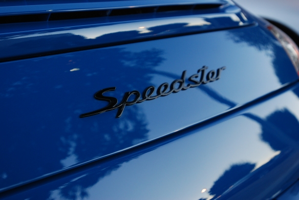 2011 Pure Blue Porsche 997 Speedster_ rear deck badge and sunrise reflections_Cars&Coffee/Irvine_January 12, 2013