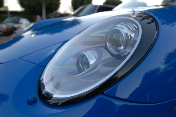 2011 Pure Blue Porsche 997 Speedster_ front headlight detail and reflections_Cars&Coffee/Irvine_January 12, 2013