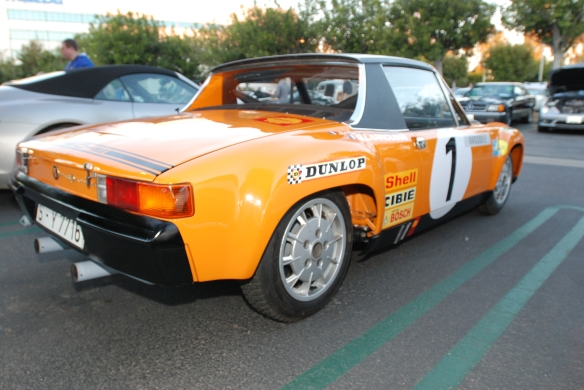 1971 signal orange Porsche 914-6 GT rally car_3/4 rear view w/skinny tires_Cars&Coffee/Irvine_January 12. 2013