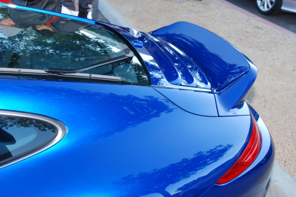 Aqua Blue metallic Type 991 Porsche 911 Carrera _rear ducktail spoiler w/reflections_Cars&Coffee/Irvine_January 12, 2013