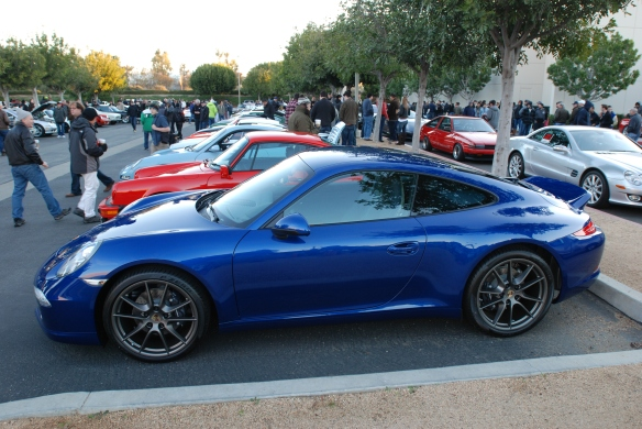 Aqua Blue metallic Type 991 Porsche 911 Carrera _side view w/reflections_Cars&Coffee/Irvine_January 12, 2013