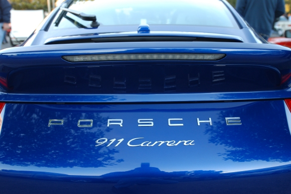 Aqua Blue metallic Type 991 Porsche 911 Carrera _rear view, ducktail spoiler w/reflections_Cars&Coffee/Irvine_January 12, 2013