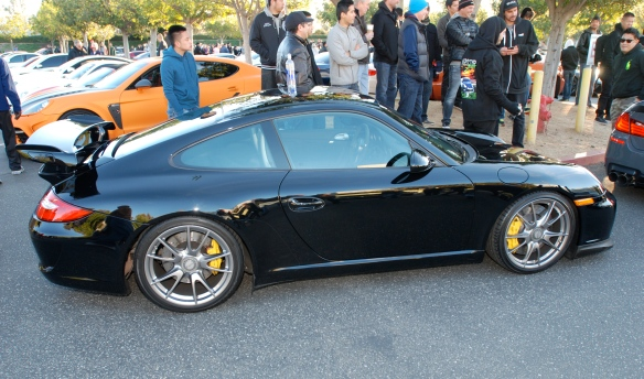 Black on Black  2011 Porsche GT3_side view with reflections_Cars&Coffee/Irvine_January 12, 2013