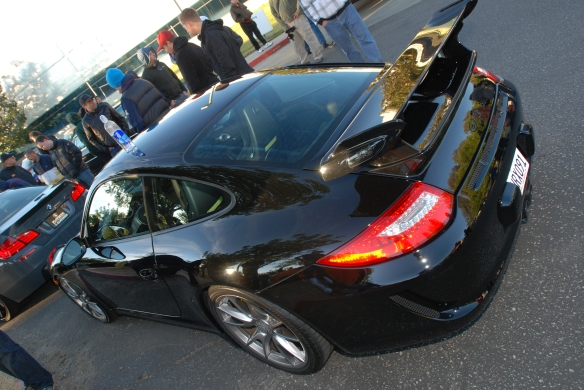Black on Black  2011 Porsche GT3_angled 3/4 rear view with reflections_Cars&Coffee/Irvine_January 12, 2013