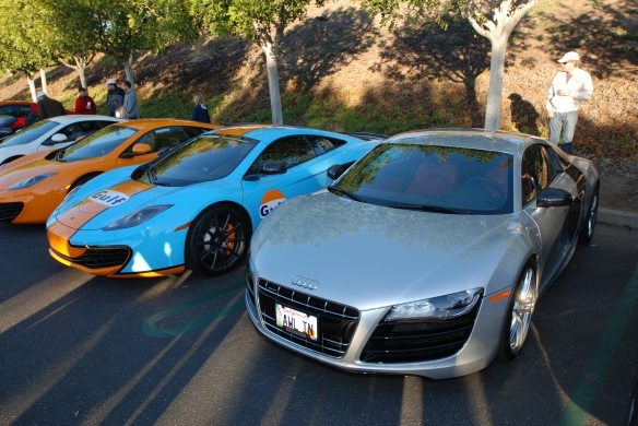Silver Audi R8 V10 coupe & McLaren MP4-12C's_Cars&Coffee/Irvine_January 12, 2013