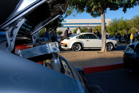 Slate gray 1984 Porsche 930 turbo / foreground, &1986 white 911 Carrera / background_composition study_Cars&Coffee/Irvine_January 12, 2013