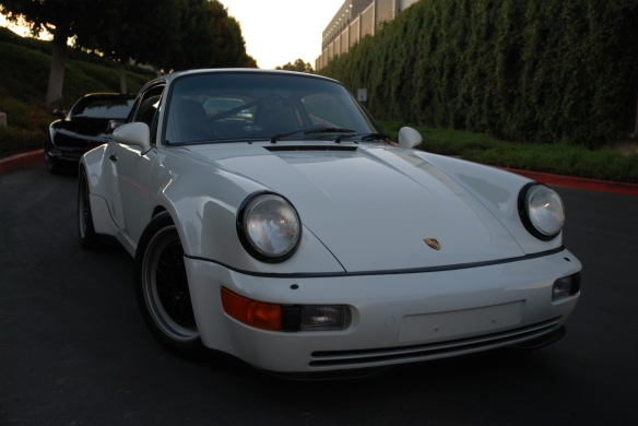 Grand Prix white1991 Porsche 964 turbo_ 3/4 front view w/ reflections_Cars&Coffee/Irvine_January 19, 2013