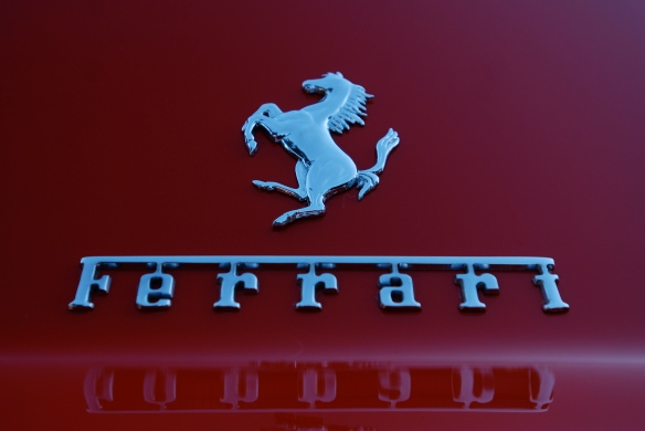 Red Ferrari 275 GTB/4_ rear deck badge and reflections_Cars&Coffee/Irvine_January 19, 2013