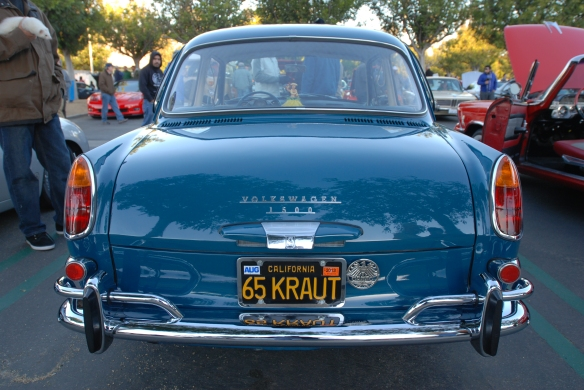 Blue 1965 VW type 3 Notchback_rear view and early morning reflections_Cars&Coffee/Irvine_January 19, 2013
