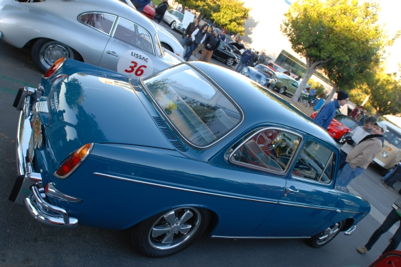 Blue 1965 VW type 3 Notchback_angled 3/4 rear view and early morning reflections_Cars&Coffee/Irvine_January 19, 2013