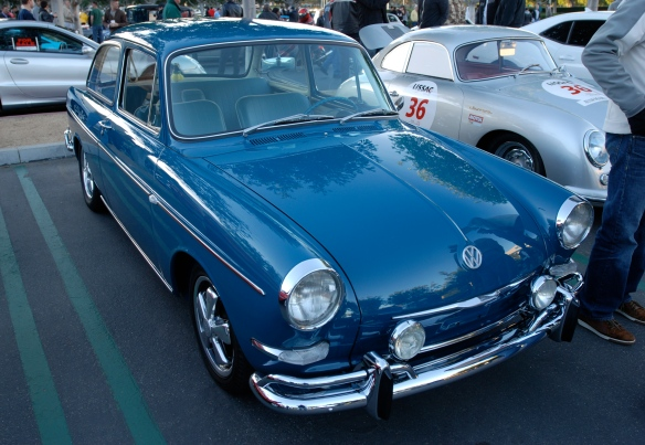 Blue 1965 VW type 3 Notchback_ 3/4 front view and early morning reflections_Cars&Coffee/Irvine_January 19, 2013