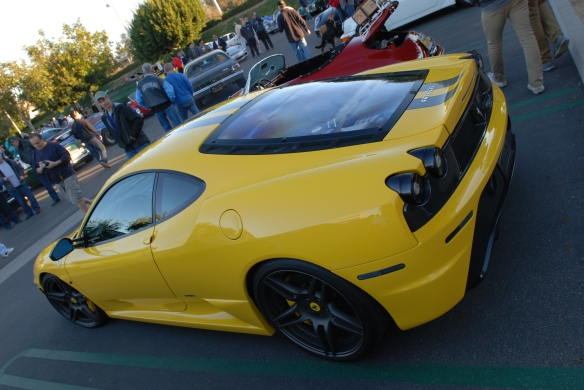 Fly yellow Ferrari F430 Scuderia _3/4 rear view_Cars&Coffee/Irvine_January 19, 2013