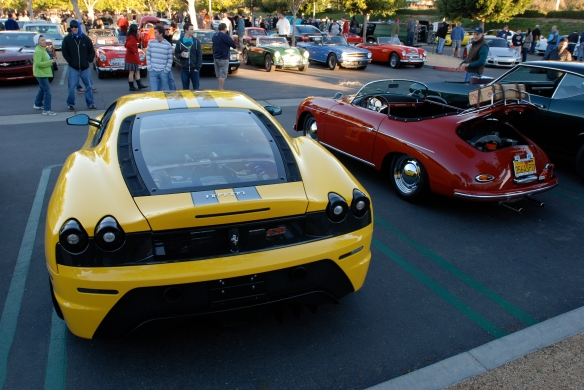 Fly yellow Ferrari F430 Scuderia and Red Speedster_3/4 rear view_Cars&Coffee/Irvine_January 19, 2013